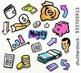 money symbol.drawing doodle... | Shutterstock . vector #555705913