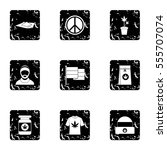 hashish icons set. grunge... | Shutterstock . vector #555707074
