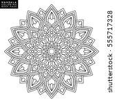 flower mandalas. vintage... | Shutterstock .eps vector #555717328