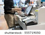 man using pos terminal at the...   Shutterstock . vector #555719050