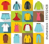 different clothes icons set.... | Shutterstock . vector #555722428