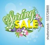 spring sale banner colorful... | Shutterstock .eps vector #555728800