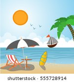 summer vacation drawing beach... | Shutterstock .eps vector #555728914