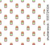 jam in a glass jar pattern.... | Shutterstock . vector #555729334