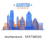 austin  texas usa  city skyline ... | Shutterstock .eps vector #555738520