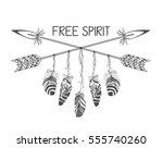 hand drawn boho style design... | Shutterstock .eps vector #555740260