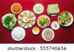 amazing of vietnamese food for... | Shutterstock . vector #555740656
