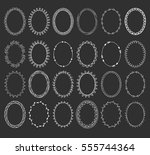 big set of hand drawn oval... | Shutterstock .eps vector #555744364