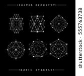 sacred geometry signs. set of... | Shutterstock .eps vector #555763738