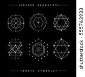 sacred geometry signs. set of... | Shutterstock .eps vector #555763933