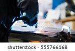 welding industrial  worker... | Shutterstock . vector #555766168