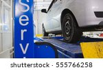 auto wheel alignment in service ... | Shutterstock . vector #555766258
