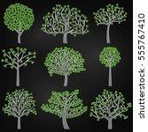 chalkboard valentine's day tree ... | Shutterstock .eps vector #555767410