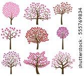valentine's day tree... | Shutterstock .eps vector #555769834