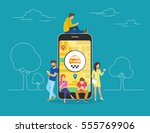 booking taxi online concept... | Shutterstock .eps vector #555769906