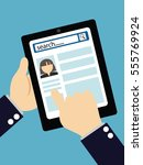 search social profile  tablet... | Shutterstock .eps vector #555769924