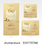 set of elegant golden sale...   Shutterstock .eps vector #555770788