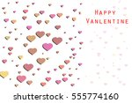 valentine card with flying... | Shutterstock . vector #555774160