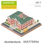 flat 3d isometric school and... | Shutterstock .eps vector #555775954