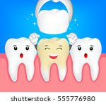 happy cute tooth character.... | Shutterstock .eps vector #555776980