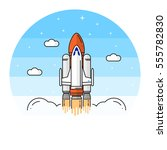 space shuttle takes off on the... | Shutterstock .eps vector #555782830