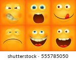 set of emoticons yellow faces... | Shutterstock .eps vector #555785050