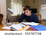 young boy doing homework for... | Shutterstock . vector #555787738