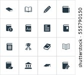 set of 16 simple reading icons. ...   Shutterstock .eps vector #555790150