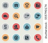 set of 16 simple contact icons. ... | Shutterstock .eps vector #555790174