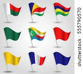 vector set of waving flags east ... | Shutterstock .eps vector #555790570