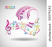 colorful music background. | Shutterstock .eps vector #55579192