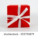 top view red gift box isolated... | Shutterstock . vector #555793879