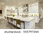 white kitchen design features... | Shutterstock . vector #555797344