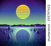 80s retro sci fi background... | Shutterstock .eps vector #555797413