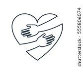 heart hug isolated line icon on ... | Shutterstock .eps vector #555806074