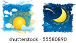 sunny day and moonlit night... | Shutterstock .eps vector #55580890
