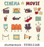 set of hand drawn cinema icons | Shutterstock .eps vector #555811168