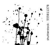 set of black paint  ink  grunge ... | Shutterstock .eps vector #555811378