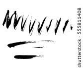 set of black paint  ink  grunge ... | Shutterstock .eps vector #555811408