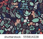 hand drawn floral pattern.... | Shutterstock .eps vector #555814228