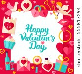 happy valentine day paper...   Shutterstock .eps vector #555817294