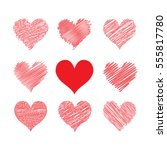 set hearts hand drawing for... | Shutterstock .eps vector #555817780