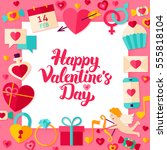 valentines day paper concept.... | Shutterstock .eps vector #555818104