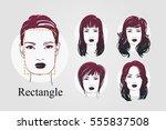 vector set beautiful women icon ... | Shutterstock .eps vector #555837508