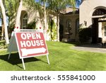 open house sign in front yard | Shutterstock . vector #555841000