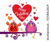 valentine day gift card holiday ... | Shutterstock .eps vector #555841819