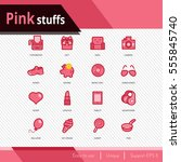 pink stuffs vector icons set on ... | Shutterstock .eps vector #555845740