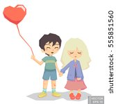 couple lovers girl and boy hold ... | Shutterstock .eps vector #555851560