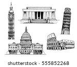 elizabeth tower  big ben  ... | Shutterstock .eps vector #555852268