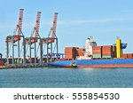 container stack and ship under... | Shutterstock . vector #555854530